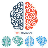 Human Brain logo or thinking label vector Royalty Free Stock Photography
