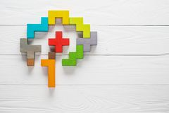 Human brain is made of multi-colored wooden blocks. Creative business concept Stock Image