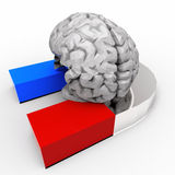 Human Brain and Magnet Stock Photo