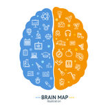 Human Brain Map Concept Left and Right Hemisphere. Vector. Human Brain Map Concept Left and Right Hemisphere Logic and Emotion Symbol. Vector illustration Stock Photography