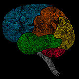 Human brain with multicolored circuit board elements. Abstract human brain with multicolored circuit board elements of red, blue, green. yellow, orange, and gray Stock Image