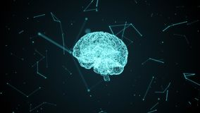 Human brain with neural cells formed by particles inside a digital cyberspace. stock illustration