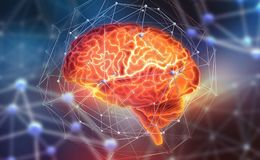 Human brain. Neural networks and artificial intelligence. Creating a computer mind stock illustration