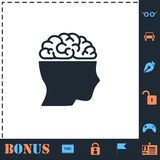 Human brain icon flat vector illustration
