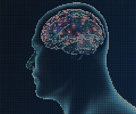 Human brain in pixels Stock Photography