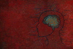 Human Brain and Positive Thinking on Red Grunge Background Royalty Free Stock Photo