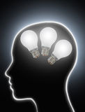 Human brain power creativity light bulbs Stock Images