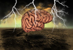 Human Brain Power Illustration. The strength of thinking, intelligence, and imagination Royalty Free Stock Photos