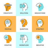 Human brain process line icons set Royalty Free Stock Images