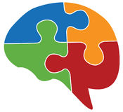 Human brain and puzzle. Human brain and colourful puzzle symbol Stock Image