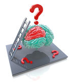 Human brain and a question marks. 3d render illustration Stock Photos
