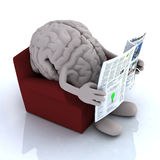 Human brain reading a newspaper from the couch. 3d illustration Stock Photos