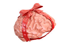 Human Brain with red bow and ribbon, gift concept. 3D rendering Royalty Free Stock Photography
