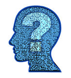 Human brain research. And intelligence puzzle with a blue glowing maze and labyrinth in the shape of a human head and question mark as a symbol of the Royalty Free Stock Photos