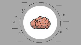 Human brain on round symbol. Over gray background stock video footage