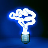 Human brain in save energy lamp form. 3d illustration of human brain in save energy lamp form stock illustration