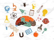 Human brain with Science sign and symbols. Stock Photography