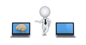 Human brain on a screen of laptop Royalty Free Stock Photography