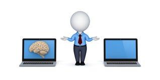 Human brain on a screen of laptop Stock Photo