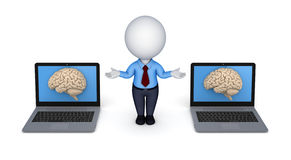 Human brain on a screen of laptop Stock Images