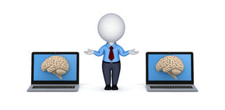 Human brain on a screen of laptop Royalty Free Stock Photos