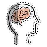 Human brain scribble. Icon illustration graphic design royalty free stock photos
