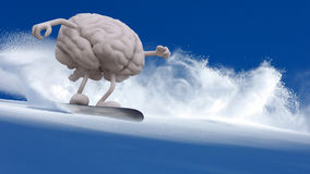 Human brain snowboarder Royalty Free Stock Images