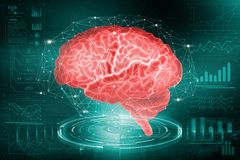 The human brain. The study of the possibilities of the brain in the development of artificial intelligence. Analysis and reconstru stock illustration