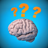 Human brain surrounded with question marks Royalty Free Stock Photo