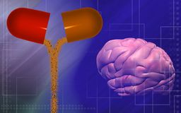 Human brain and tablet opened Stock Photo