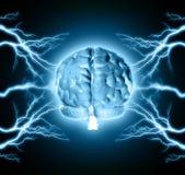 Human brain. Between thunder lightning Stock Photos