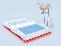 Human brain on trampoline dip in the book Stock Photo