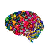 Human brain, vector abstract background Stock Images
