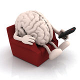 Human brain watching television from the couch Royalty Free Stock Photo