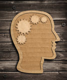 Human brain work concept from cardboard Stock Image