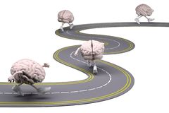 Human brains with arms, legs and sneackers on his feet stock photo