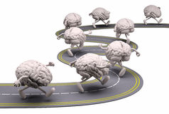 Human brains that runs in the street Stock Images