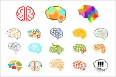 Human brains in various styles. Mind icons set. Elements for logo, web site, app, print, presentation, advertising vector illustration