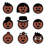 Human brown, dark skin color icons set. Vector icons set of people's faces - dark complexion Royalty Free Stock Photo