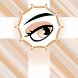 Human brown eye greetings card.. Background Royalty Free Stock Images