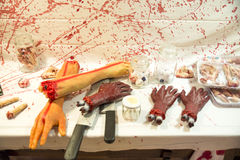 Human butchered on a table Stock Images