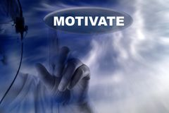 Human and button with word motivate Stock Photos