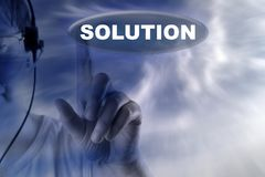 Human and button with word of solution Royalty Free Stock Photo