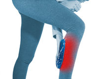 Human Calf pain with medical health care concept. Royalty Free Stock Image