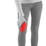 Human Calf pain with medical health care concept. Royalty Free Stock Photos