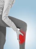 Human Calf pain with medical health care concept. Stock Photos