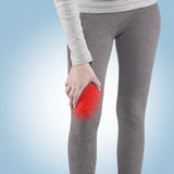 Human Calf pain with medical health care concept. Stock Image
