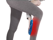 Human Calf pain with medical health care concept. Stock Images