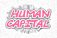 Human Capital - Cartoon Magenta Word. Business Concept. Royalty Free Stock Photo