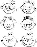 Human cartoon faces Royalty Free Stock Photos